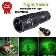 Extra longo 16x52 distância esportes caça zoomable monocular binóculos telescópio de visão noturna baixa luz para assistir ao ar livre