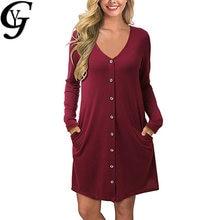 Fall fashion striped midi dress women casual v neck button up