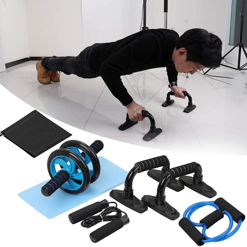 7Pcs Abdominal Roller Wheel Push-UP Support Jump Rope Fitness Equipment Kit Work Out At Home Or Gym More Convenient Fitness Tool
