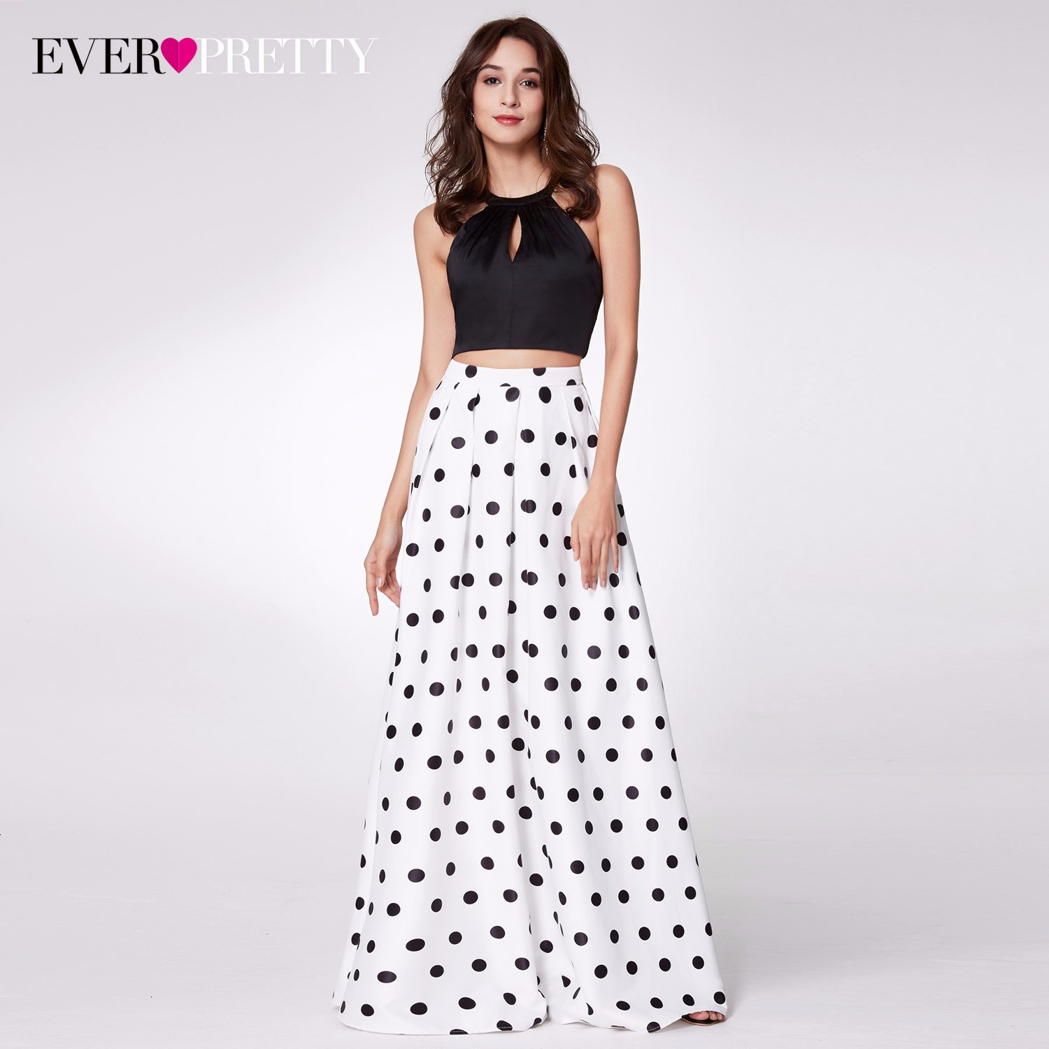 Sexy Polka Dot   Prom     Dress   Two Pieces A-Line Halter Sleeveless Cross Back Hollow Out Simple Evening Party Gowns Vestidos De Festa