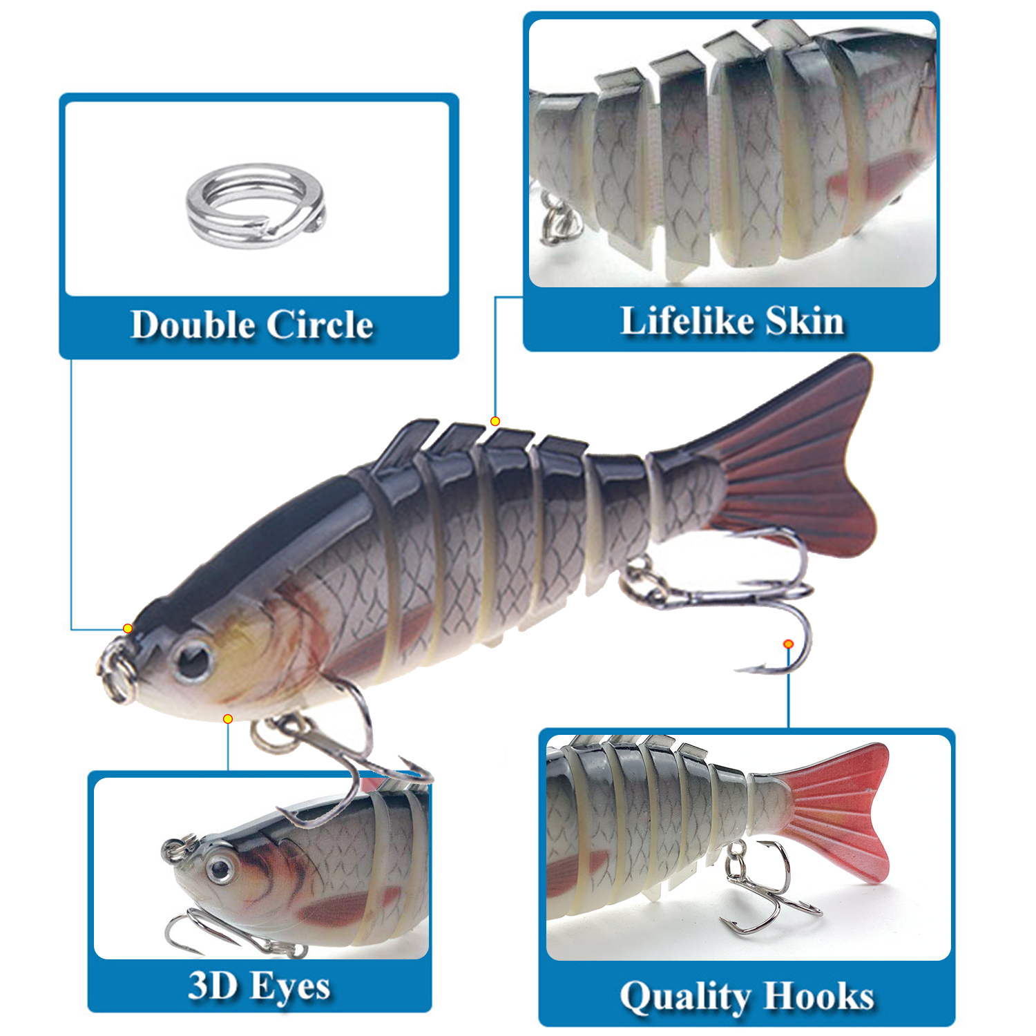 THEKUAI Fishing Baits With Lure Wrap Protective Cover Fishing Baits Crankbait Tackle 3D Eyes Lifelike Lure Hook Wraps Fishing in Fishing Lures from Sports Entertainment