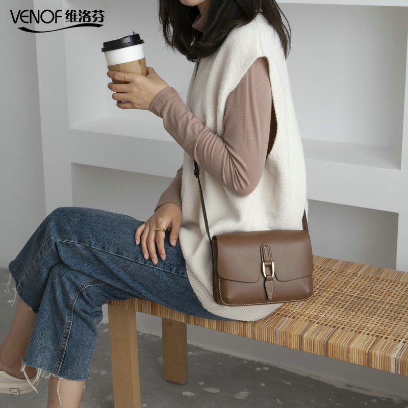 VENOF European Style Split Leather Retro Small Shoulder Bag For Women Flap Bag Female Solid Crossbody Bags Ladies Messenger Bags