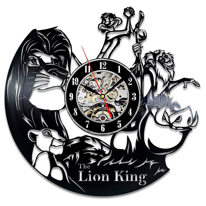 The Lion King Vinyl Record Wall Clock Modern Design Nursery 3D Decoration Cute Cartoon Vinyl Watch Wall Clocks Home Decor