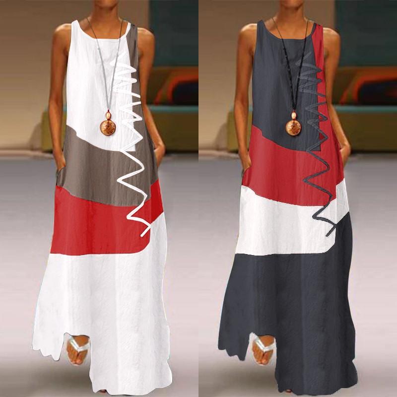ZANZEA 2020 Vintage Color Stitching Maxi Dress Women's Summer Sundress Casual Sleeveless Tank Vestidos Female O Neck Robe Femme