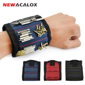 Купить со скидкой NEWACALOX Polyester Magnetic Wristband Portable Tool Bag Electrician Wrist Tool Belt Screws Nails Dr