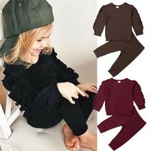 Одежда с оборками для новорожденных мальчиков и девочек, свитер Топ+ штаны, однотонный комплект одежды с длинными рукавами для малышей на осень и зиму, одежда для малышей