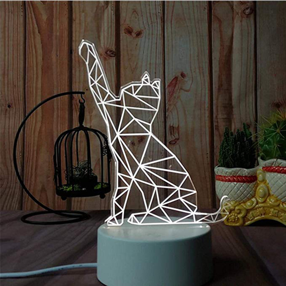 Image 3 - 3D USB Acrylic Night Lights Desktop Baubles LED Light Lamps Table Desk Globe Bedroom Office Decor Gift Warm White Lamp Ornament-in LED Night Lights from Lights & Lighting