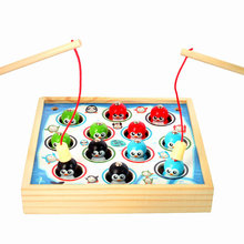 цена на Free shipping Children Wooden Magnetic fishing game - Happy penguins toys Early Training Fishing Challenging games Kids wood toy