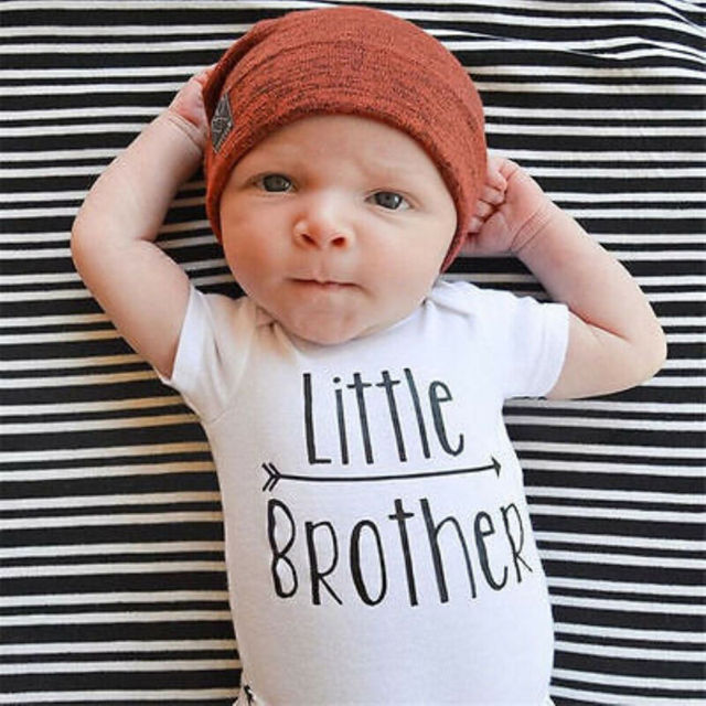 1PCS Family Matching Baby Little Sister Short Sleeve Letters Rompers Bodysuit Big Brother Cotton T-shirt Tops Kids Boys Clothing 4