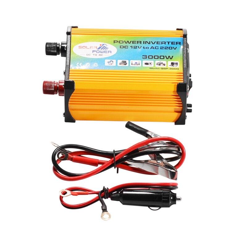 Falownik solarny 3000W napięcie szczytowe konwerter transformatora DC 12V do AC 220V falownik samochodowy na falownik solarny urządzenia domowe