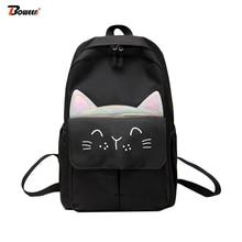 Gray Backpacks Women School Backpack for Teenage Girls Schoolbag Nylon Solid Large Teen Bagpack Cute Cat Ears Student Back Pack