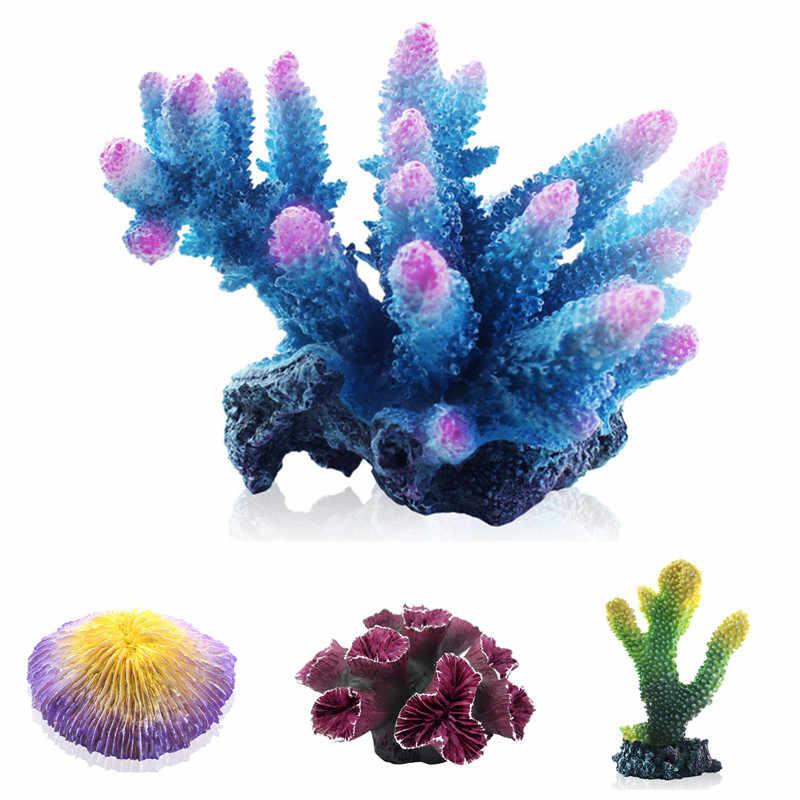 Aquarium corail artificiel en résine 15 Styles   Décoration d'aquarium à poissons, ornement de récif de corail, décoration de fleur de corail en pierre, décor de fond d'aquarium