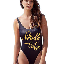Women Bridal Party One Piece Swimsuit BRIDE Tribe Front&Back Both Print Bathing Suit Bodysuit Swimwear Maillot De Bain Beachwear slogan print racer front bodysuit