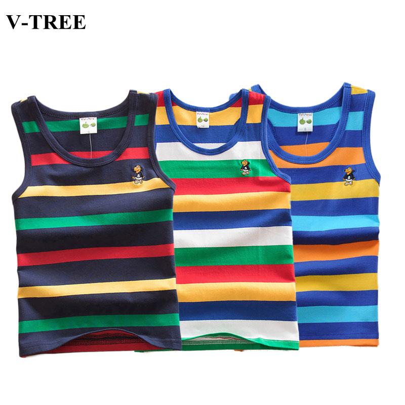 2020 Summer Tank Top For Girls Striped Children Undershirt Cotton Kids Underwear Model Teenager Camisole Baby Singlets Clothing