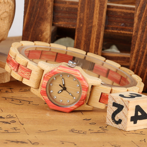 Image 3 - Vogue Octagonal Shape Wooden Watch Womens Crystal Diamond Dial Quartz Wristwatch Bamboo Wood Bracelet Hour Clock for Lady Girls