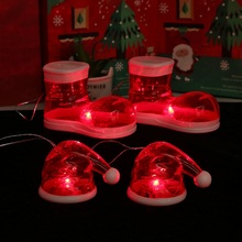 Christmas Stocking Hat LED Light Up Christmas Pendant Decorative Hanging Drop Ornaments Hol