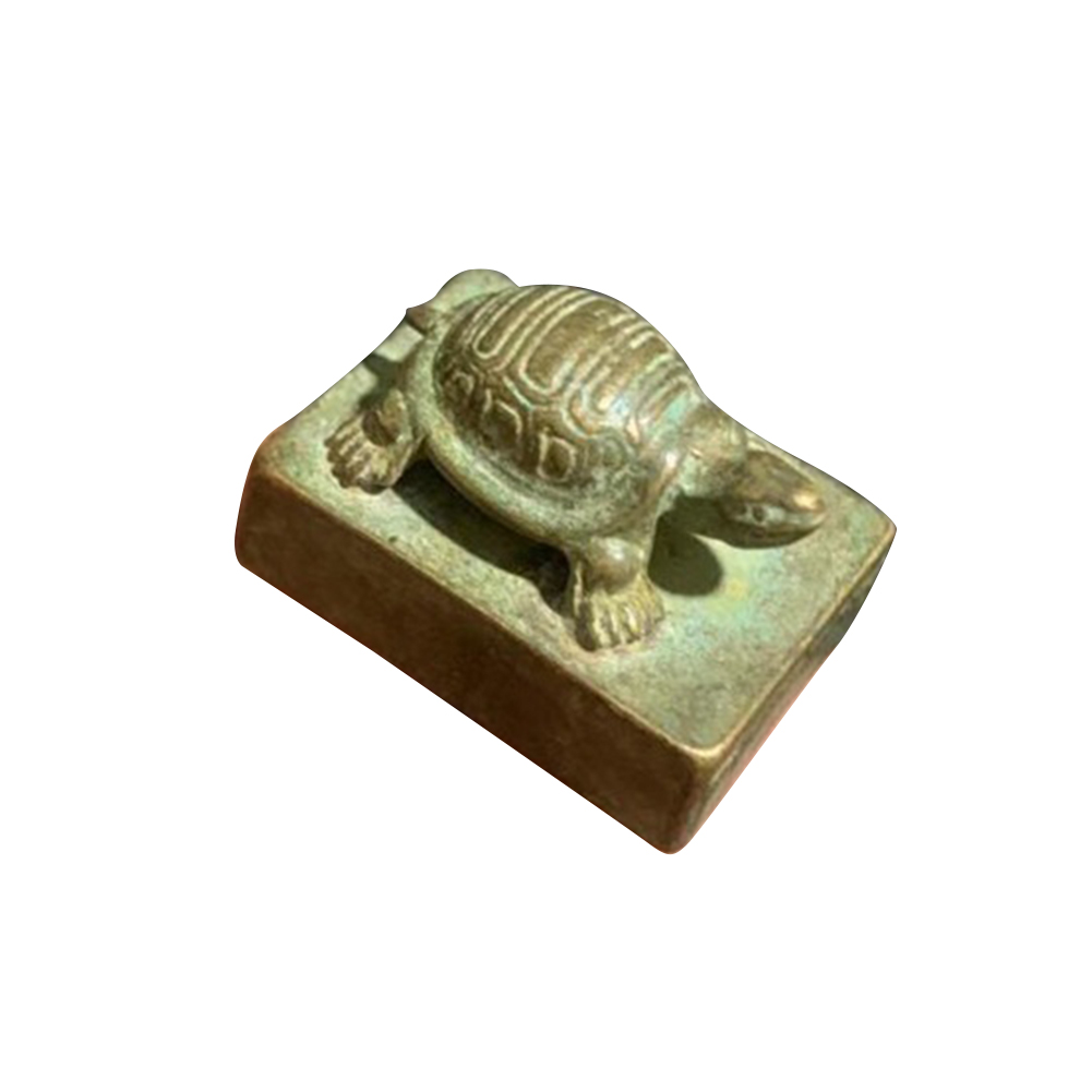 Tortoise Seal Small Statue Chinese Bronze Long Live Square Stamp Sculpture Collect Lucky Carving Antique Ornament Rich Signet