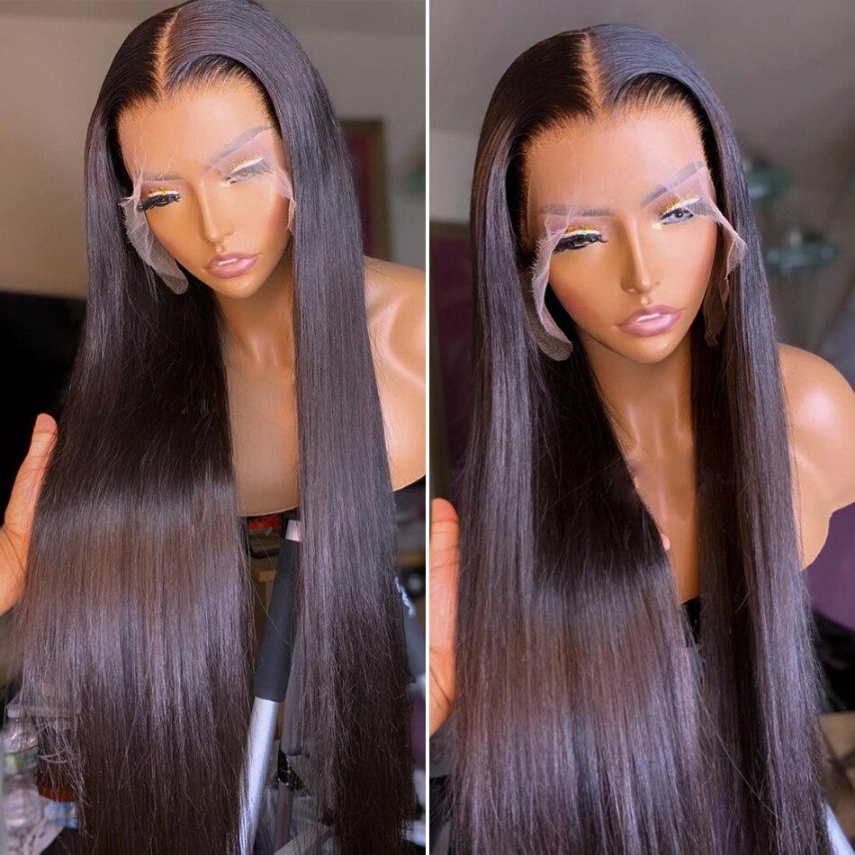 13x4 em linha reta do laço frontal perucas pré arrancadas do osso brasileiro em linha reta remy 28 30 polegada cabelo humano peruca frontal do laço para preto