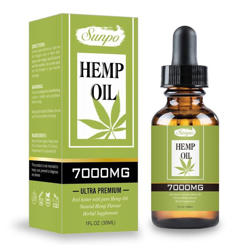 30ml 7000mg Hemp Seed Oil Hemp CBD Organic Essential Oil Herbal Drops Massage Body Relieve Stress Oil Skin Care Help Sleep