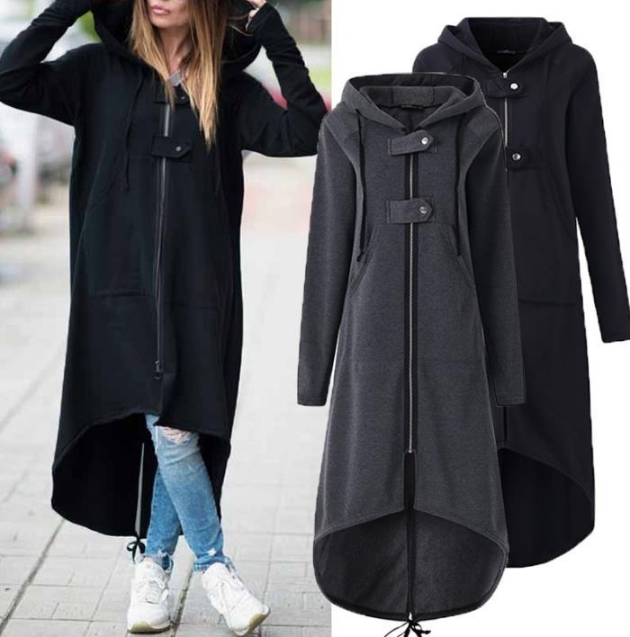 Windbreaker Women Hooded Long Sleeve Zipper Drawstring Casual Irregular Coat Casual Solid Long Jacket 2019 Women Sweatshirt