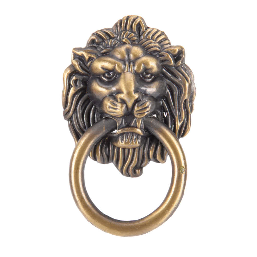 Manija cabeza de león perilla con anillo armario cajón puerta tirar Retro Decoración 42*68 m Vntage León cabeza muebles