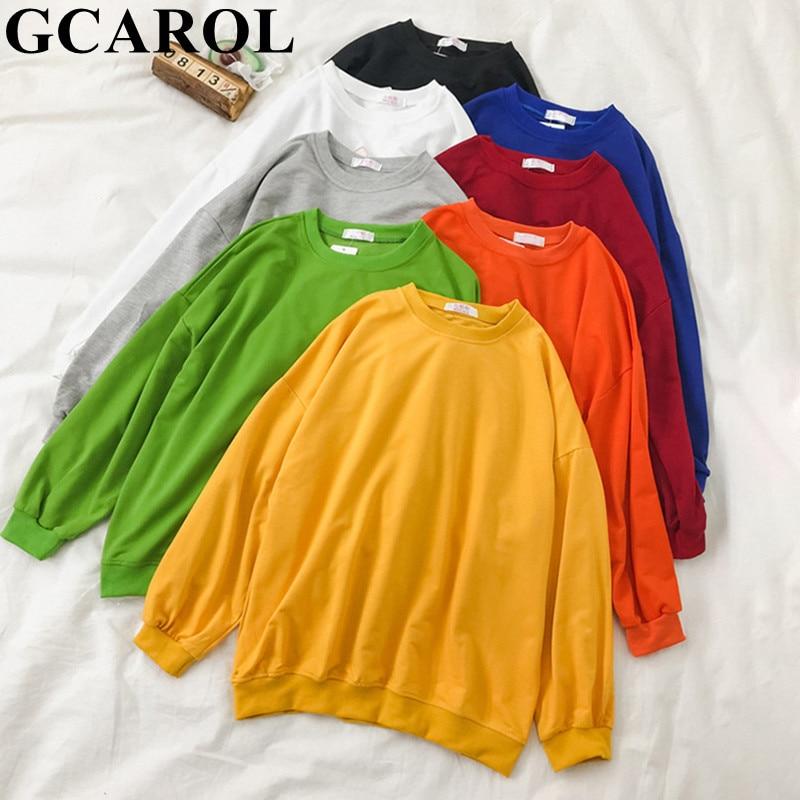 GCAROL Women Boyfriend Oversize Candy Sweatshirt Drop Shoulder Casual Sports Tops Basic Long Hooded Streetwear Pullover 8 Colors