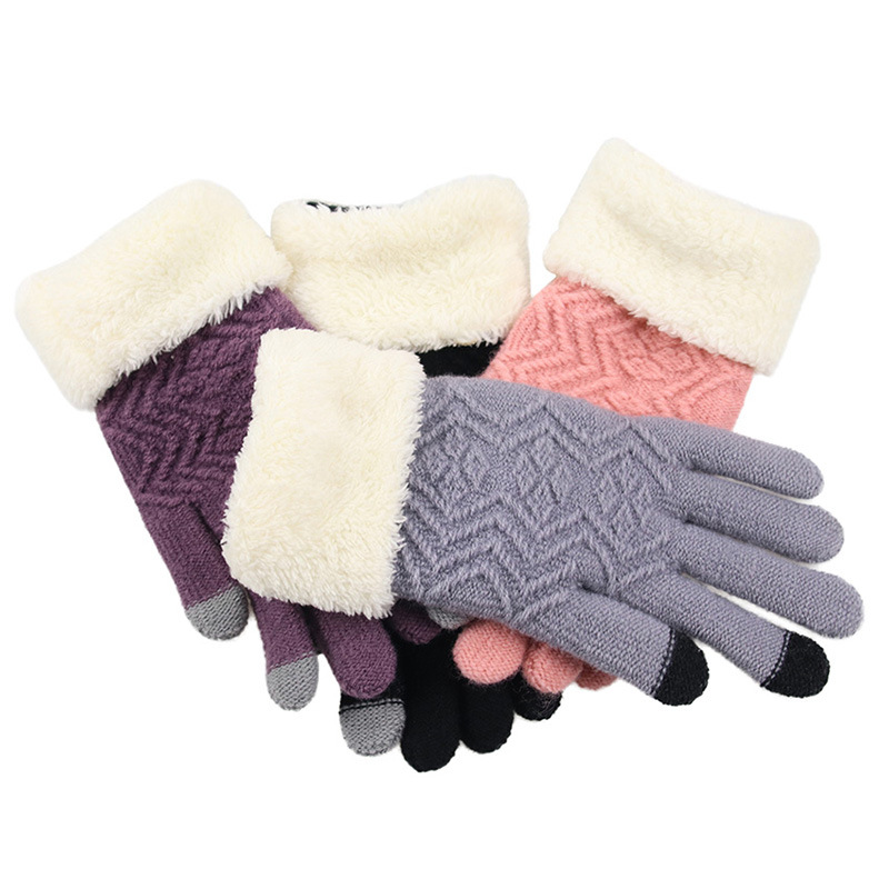 Casual Gloves Women Winter Polyester Geometric Knitting Solid Mittens Plus Velvet Thick Full Finger Gloves Female Touch Screen