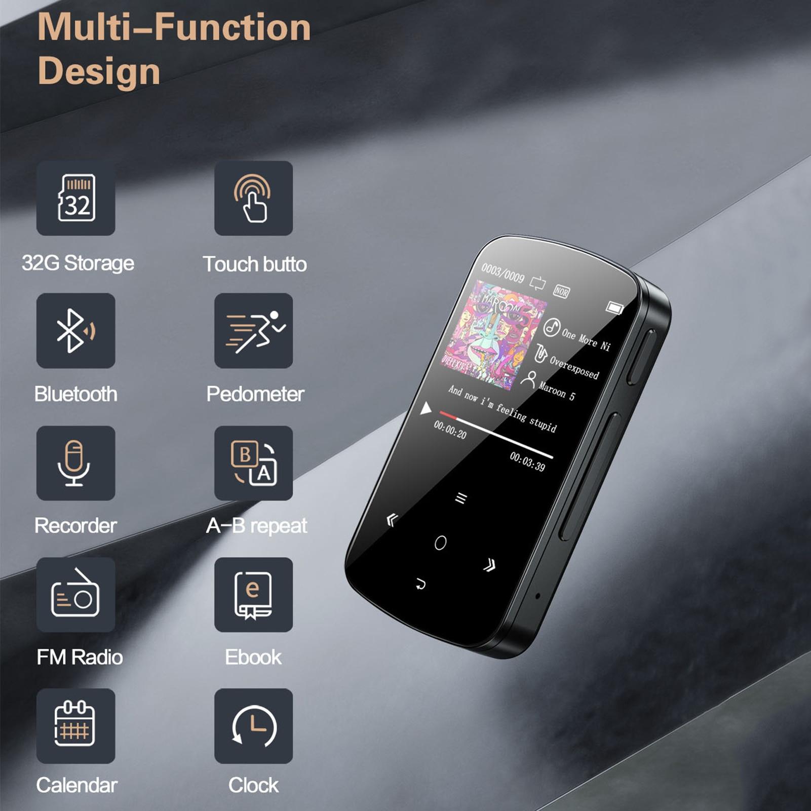 MP3 Player with Bluetooth Speaker Touch key Built-in 32GB HiFi Metal Mini Portable Walkman