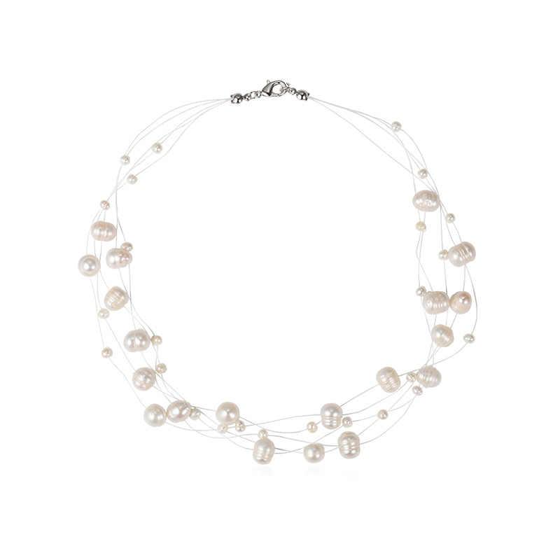 Mutiara Air Tawar Alami Kalung untuk Wanita Baroque Mutiara 4-8 Mm 5 Baris Bohemia Perhiasan Buatan Tangan Fashion 2020 Cauuev