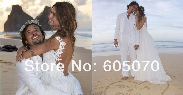 Summer Dress 2016 New Hot Sale Vestidos De Novia White Chiffon Lace Appliques Sexy Backless Bridal Gowns Beach Wedding Dress