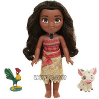 35cm Movie Moana Princess with Music LED Light Figurine Dolls Toys PVC Movable Joint Action Figure Toy for Children Gift
