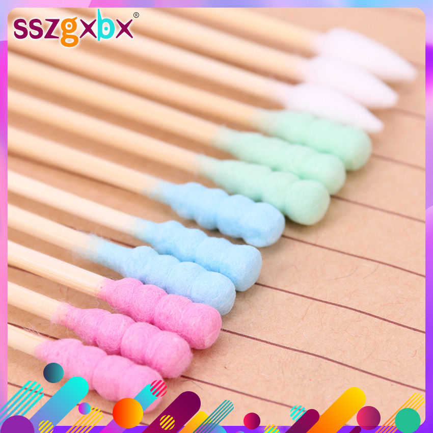 100PCS/Pack Double Head Cotton Swab Women Makeup Cotton Medical Double-head Wood Sticks Ears Cleaning Health Care Tool