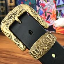 Chinese Dragon Cowboy Brass Belt Buckle Men' Belt Ceinture Homme Yellow Belt Male Wide Jeans Men Leather Belt Riem MBT0099