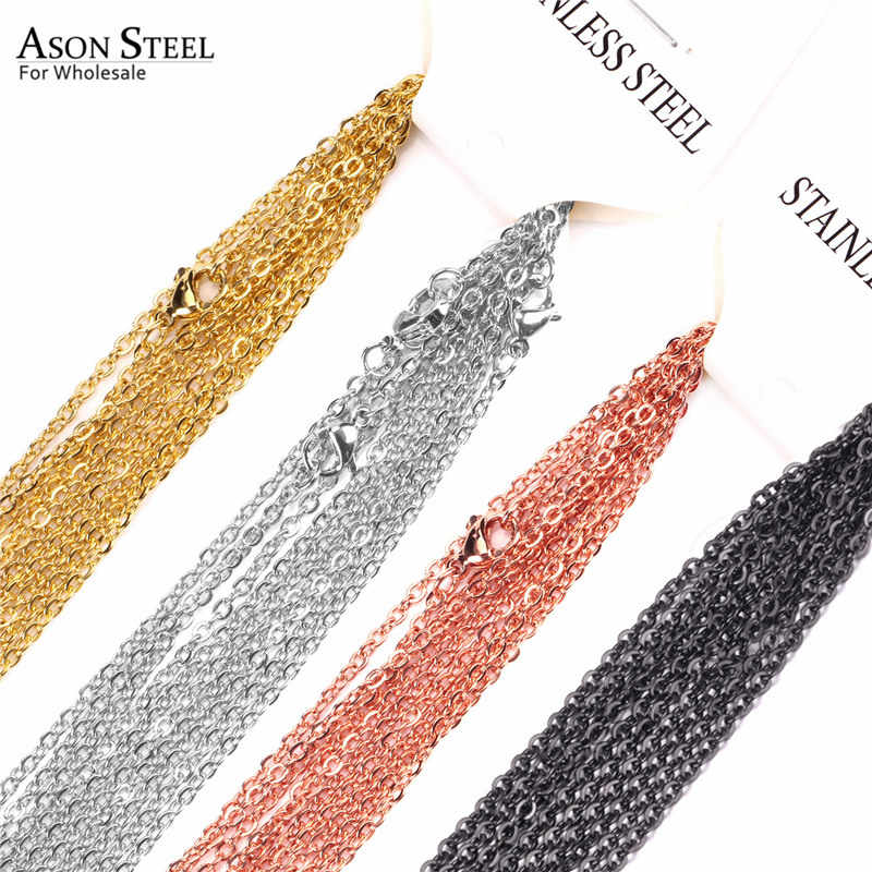 ASONSTEEL 10pcs/lot 2mm/1mm Gold/Silver Cuban Rolo Link Chain Necklace for Jewelry Making Stainless Steel Customized Long Chain