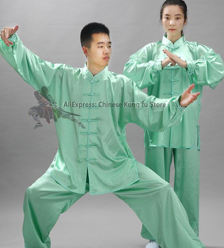 Shiny Satin Tai Chi Uniform Wushu Kung Fu Martial Arts Suit Wing Chun Jacket And Pants