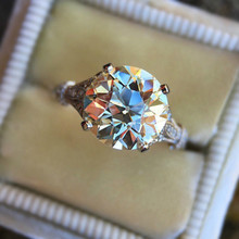 все цены на jingyang Ring For Women Luxury Big Crystal Wedding Ring White Gold Color Aaa Cubic Zirconia Engagement Rings Jewelry Kar260