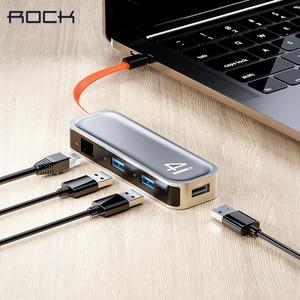 ROCK USB C HUB Type C to USB 3.0 RJ45 Adapter Dock for MacBook Pro Air USB-C Type C 3.1 Splitter 3 Port USB C HUB for NoteBook(China)