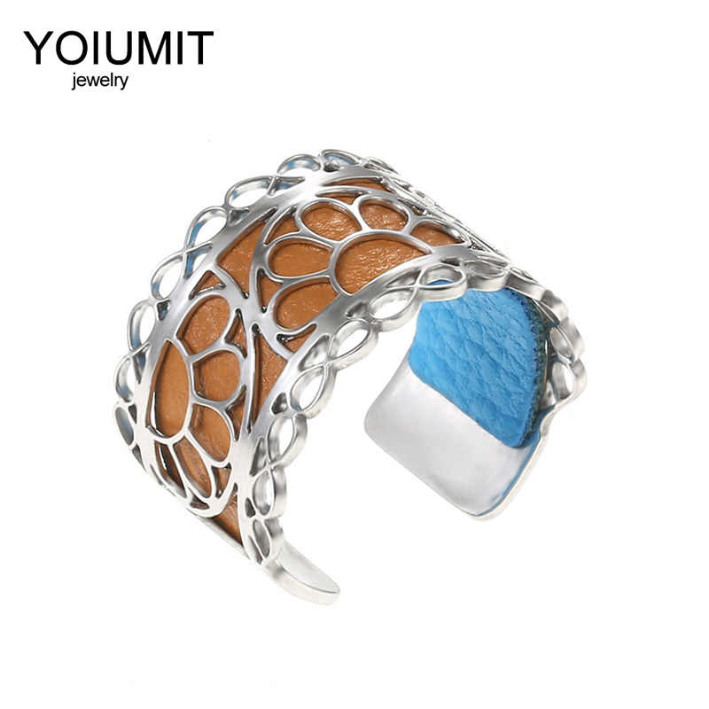 Cremo Argent Adjustable Silver Rings stainless steel Hand Open Finger Open Rings For Women Interchangeable Leather Bague