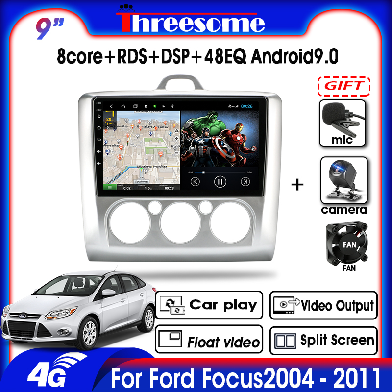 9Android 9.0 Car Radio T3L 2DIN For Ford Focus 2 3 Exi MT AT Mk2/Mk3 2004-2011 GPS Navigation DSP Floating window Split Screen image