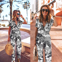 цена на Women Jumpsuit Casual Leaf Printed Short Sleeve Turn-Down Collar Gorgeous Ladies Chic Long Pants Rompers Woman Overalls Outfits