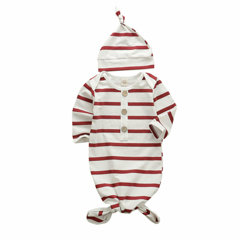 Emmababy 2Pcs Newborn Baby Cotton Swaddle Wrap Swaddling Sleeping Bag Blanket Hat Set CA