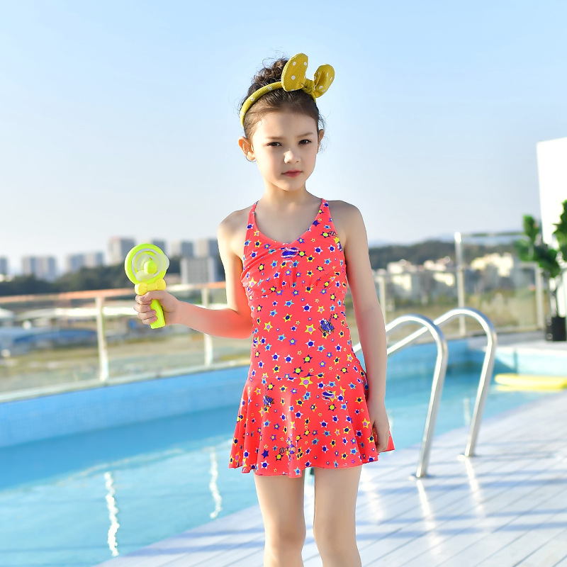 2018 New Style Hot Sales One-piece One-Piece Bathing Suit Sweet Cute Hipster Cartoon Triangle Girls KID'S Swimwear