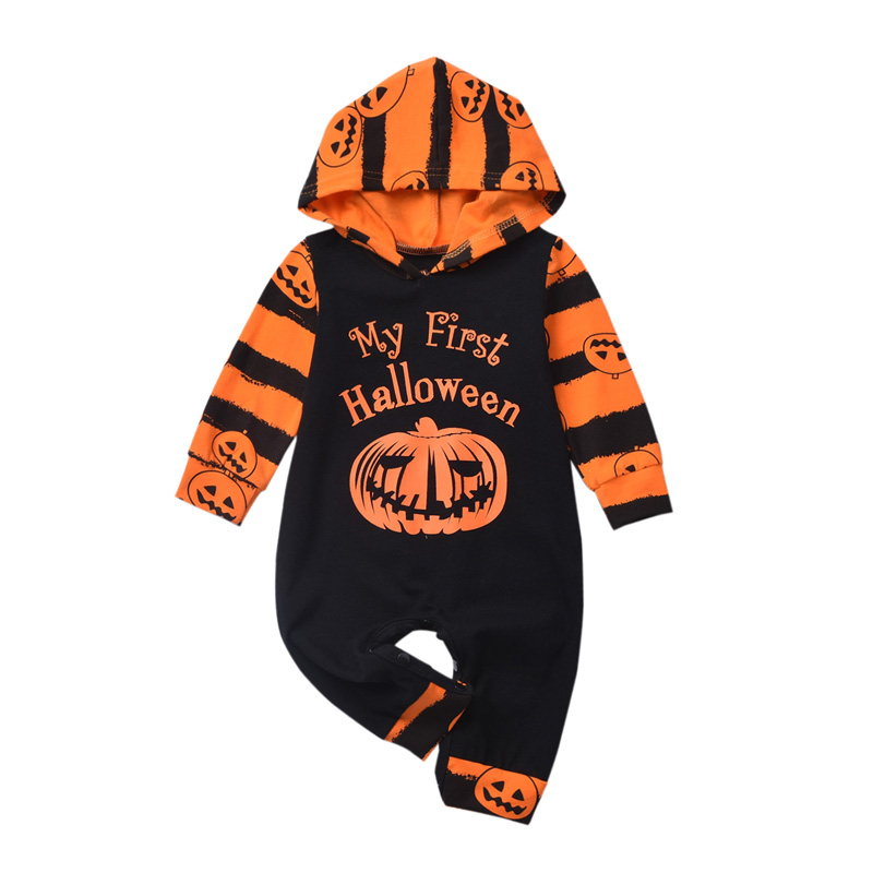 2019 Brand Baby Halloween   Romper   Stripe Pumpkin Print Clothes Infant Kids Hooded Jumpsuit Baby Halloween Clothes Party Costume