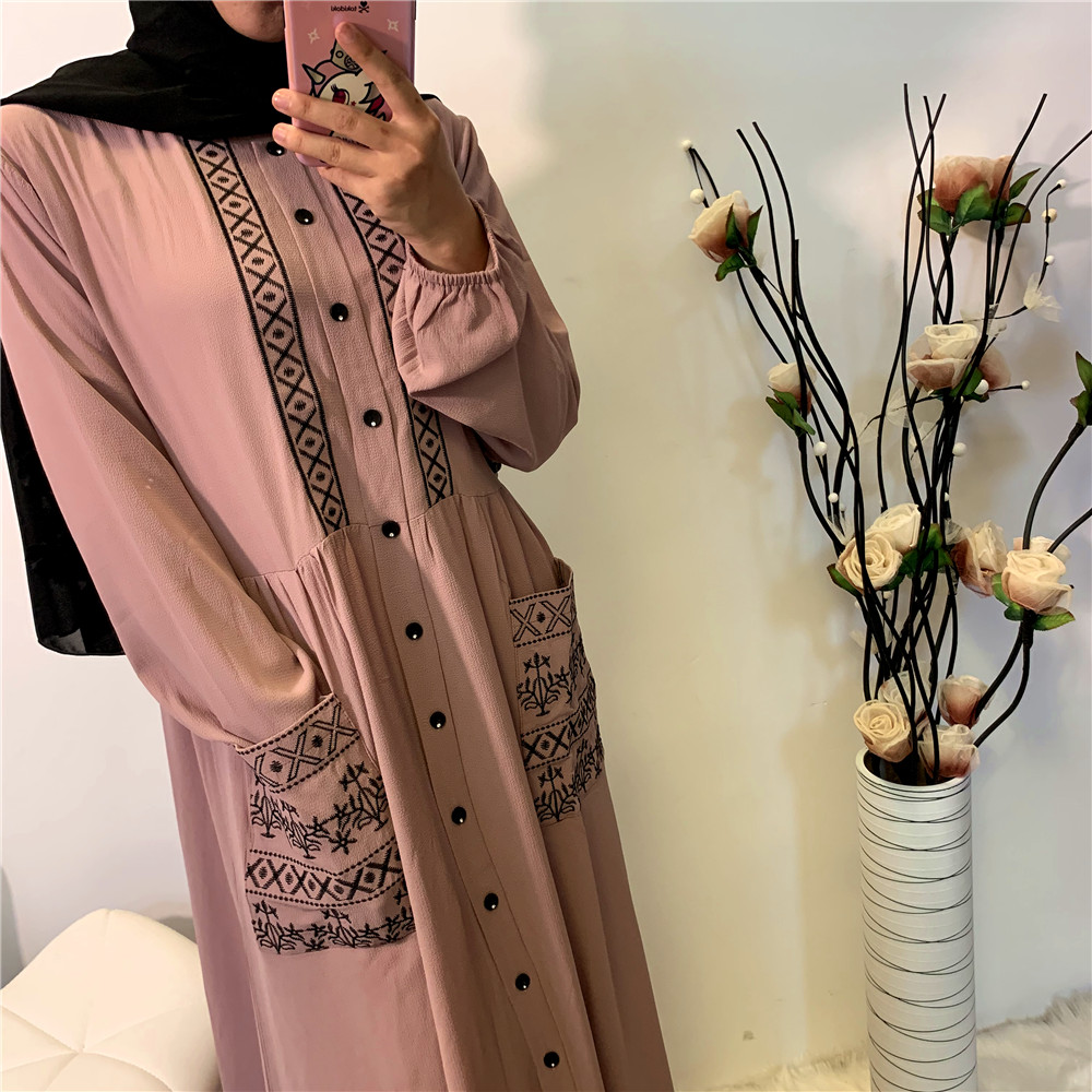 Women Casual Embroidered Buttons With Pockets Long Sleeve Maxi Muslim Dress Islamic Abaya Turkey long muslim dresses kaftan