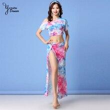 2 Pcs Women Belly Dance Costume Silver Mesh Sexy Transparent Long Skirt Dance Practice Wear Fashion Dance Clothes