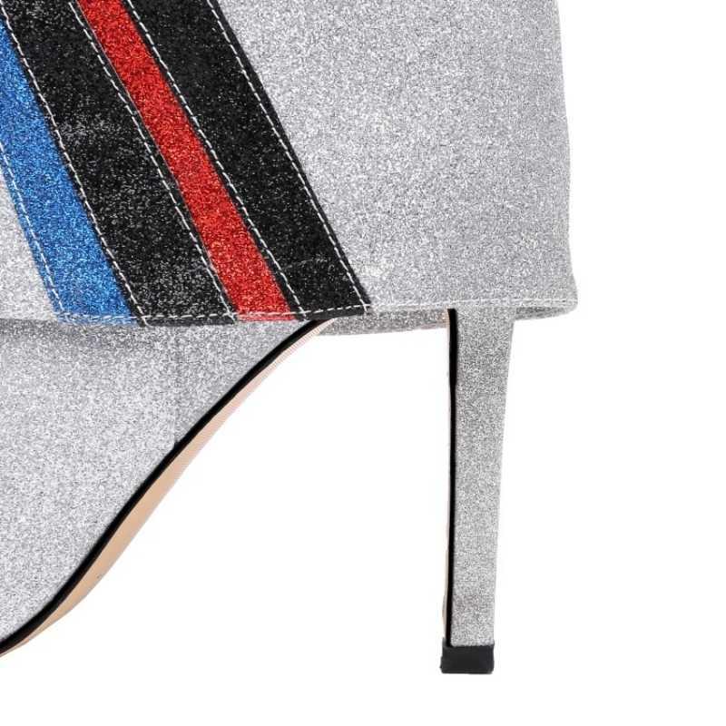 حجم كبير الترتر أشار تو الخنجر حذاء بوت بنصف رقبة النساء المدرج سوبر عالية الكعب الانزلاق على الشتاء الكاحل فارس الأحذية حذاء امرأة