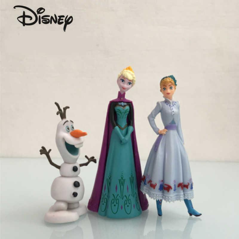 אמיתי דיסני קפוא 2 Elsa אנה אולף דגם בסדר איור סט Pvc פלסטיק צעצועים לילדים מתנת יום הולדת