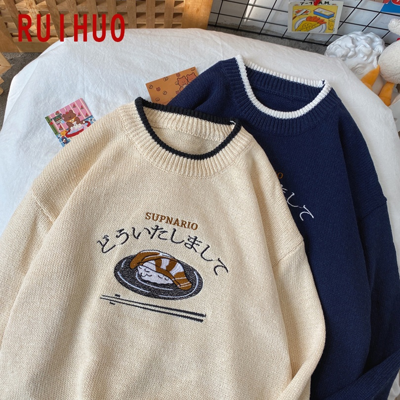 RUIHUO Harajuku Knitted Sweater Men Clothing Winter Pullover Men Sweaters Male Harajuku Clothes Hip Hop M-2XL 2021 New Arrivals