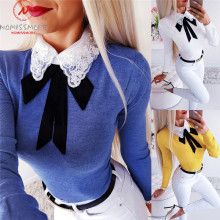 Женские футболки с длинным рукавом для уличной носки, лоскутный дизайн, бант, кружево, бриллиантовый декор, отложной воротник, длинный рукав, однотонный Тонкий Топ