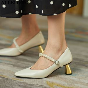 ALLBITEFO golden heel real genuine leather women heels shoes fashion sexy women's high heel shoes high heels Talons hauts femme